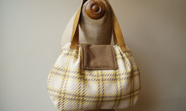 Porto bag – yellow-brown-white twill / SOLD