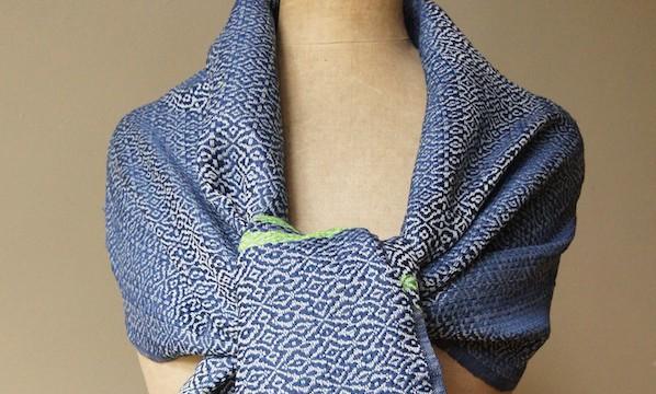 Shawl cotton - honeysuckle blue