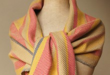 Shawl merino - twill red-yellow-cream