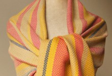 Shawl merino - twill variation red-yellow-cream